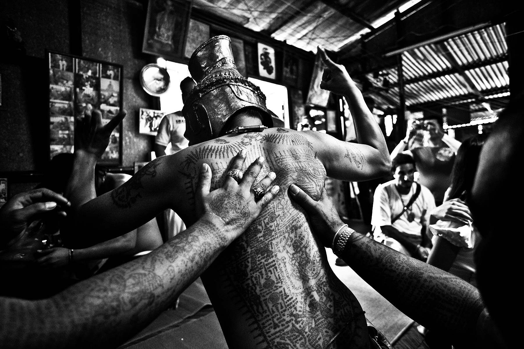 A devotee enters a state of trance during a ceremony