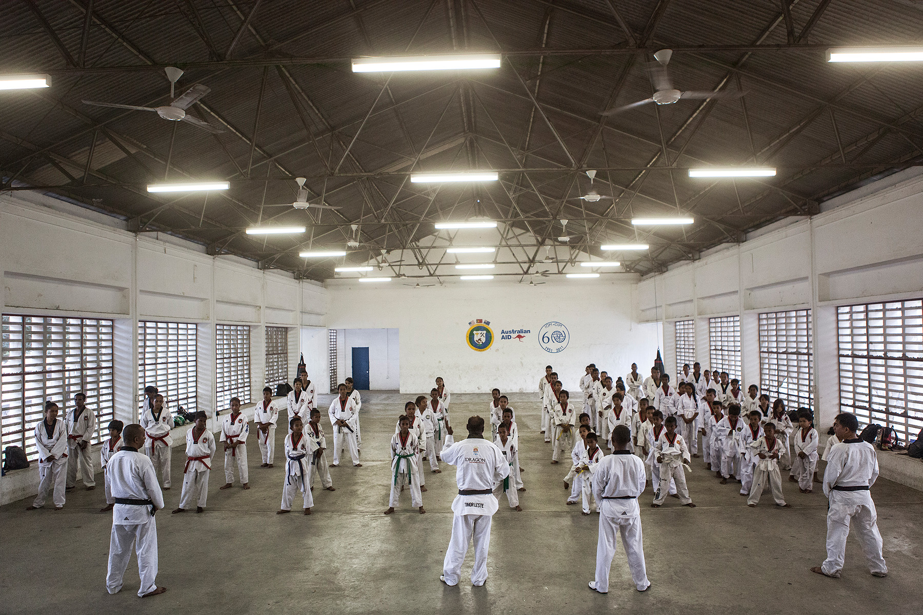 Taekwondo teachers instruct their students after a class in Dili - Martial arts are very popular in Dili